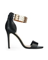 Sandales à talons en cuir noir et doré Dune