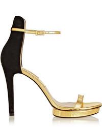 Sandales à talons en cuir noir et doré Michael Kors