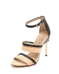 Sandales à talons en cuir noir et marron clair BCBGMAXAZRIA