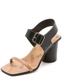 Sandales à talons en cuir noir et marron clair