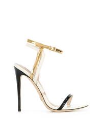 Sandales à talons en cuir noires et dorées Gianni Renzi