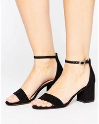 Sandales à talons en cuir noires Aldo