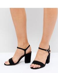 Sandales à talons en cuir noires ASOS DESIGN