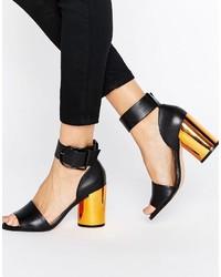 Sandales à talons en cuir noires Asos
