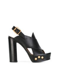 Sandales à talons en cuir noires Chloé
