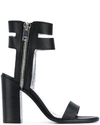 Sandales à talons en cuir noires Diesel