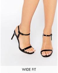Sandales à talons en cuir noires Faith