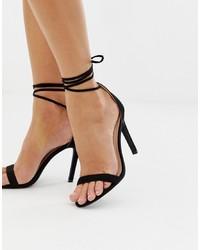 Sandales à talons en cuir noires Glamorous
