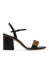 Sandales à talons en cuir noires Gucci