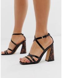 Sandales à talons en cuir noires Head over Heels by Dune