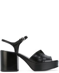 Sandales à talons en cuir noires Jil Sander
