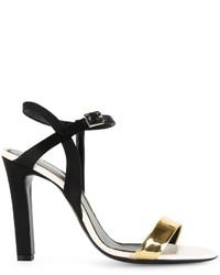 Sandales à talons en cuir noires Lanvin
