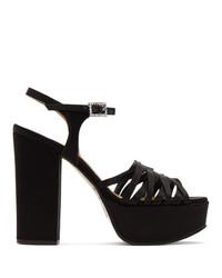 Sandales à talons en cuir noires Marc Jacobs