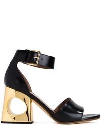 Sandales à talons en cuir noires Marni