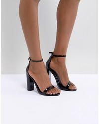 Sandales à talons en cuir noires Missguided