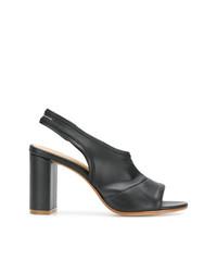 Sandales à talons en cuir noires MM6 MAISON MARGIELA
