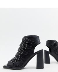 Sandales à talons en cuir noires New Look