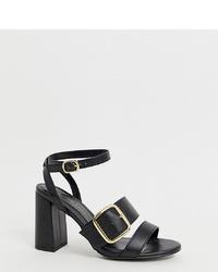 Sandales à talons en cuir noires New Look Wide Fit