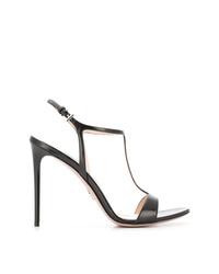 Sandales à talons en cuir noires Prada