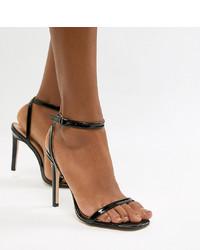 Sandales à talons en cuir noires Public Desire