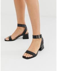 Sandales à talons en cuir noires RAID