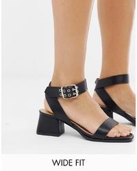 Sandales à talons en cuir noires Raid Wide Fit