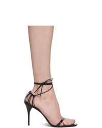 Sandales à talons en cuir noires Saint Laurent