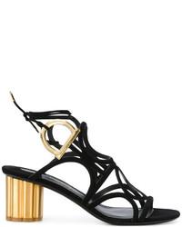 Sandales à talons en cuir noires Salvatore Ferragamo