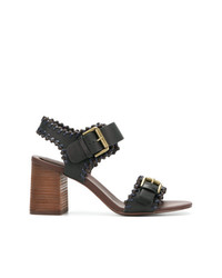 Sandales à talons en cuir noires See by Chloe