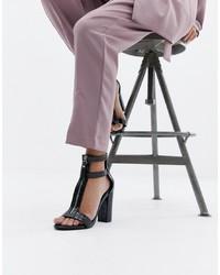 Sandales à talons en cuir noires SIMMI Shoes