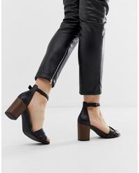 Sandales à talons en cuir noires Vagabond