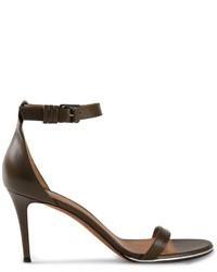 Sandales à talons en cuir olive Givenchy