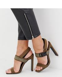 Sandales à talons en cuir olive Missguided
