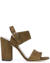 Sandales à talons en cuir olive Stuart Weitzman