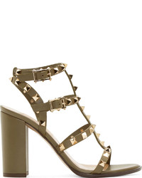 Sandales à talons en cuir olive Valentino