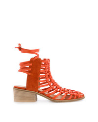 Sandales à talons en cuir orange Kitx