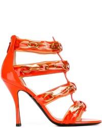 Sandales à talons en cuir orange Moschino