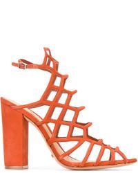 Sandales à talons en cuir orange Schutz