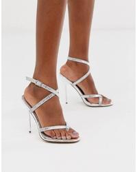 Sandales à talons en cuir ornées argentées ASOS DESIGN