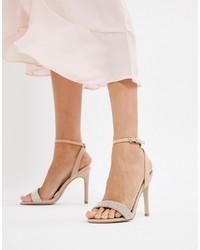 Sandales à talons en cuir ornées beiges New Look