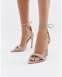 Sandales à talons en cuir ornées beiges Public Desire