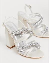 Sandales à talons en cuir ornées blanches ASOS DESIGN