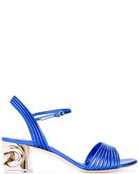 Sandales à talons en cuir ornées bleues Casadei