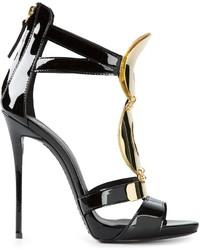 Sandales à talons en cuir ornées noir et doré Giuseppe Zanotti
