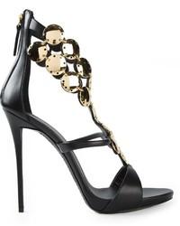 Sandales à talons en cuir ornées noires et dorées Giuseppe Zanotti