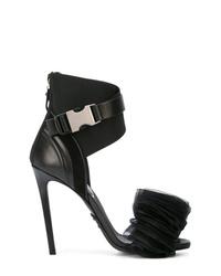 Sandales à talons en cuir ornées noires Balmain
