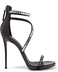 Sandales à talons en cuir ornées noires Giuseppe Zanotti