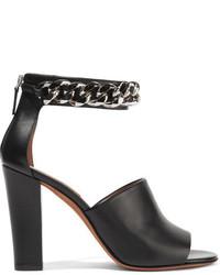 Sandales à talons en cuir ornées noires Givenchy
