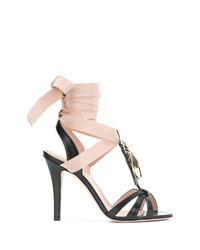 Sandales à talons en cuir ornées noires RED Valentino