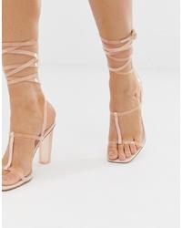 Sandales à talons en cuir roses ASOS DESIGN